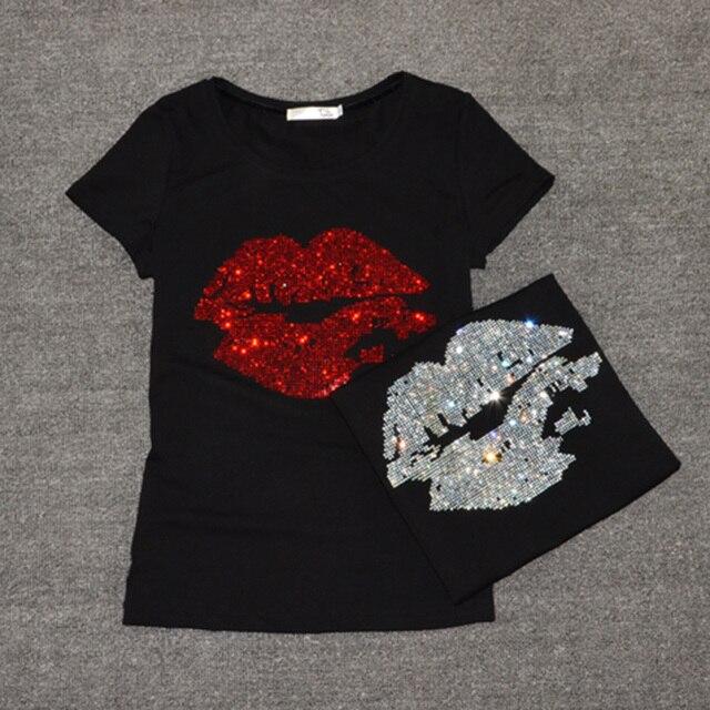 Top Selling t shirt women Summer Short Sleeve Feminine Fashion Sexy Lip  Crystal T-shirt O Neck Soft Cotton Ladies Tee shirt f196b99c8a1a