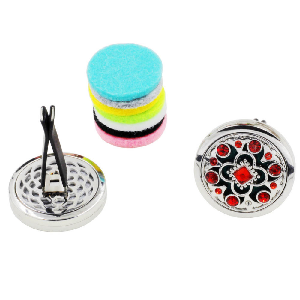 Wholesale 10pcs lot 30mm Red Crystals Magnet Diffuser Flower Car Aroma Locket Essential Oil Car Diffuser