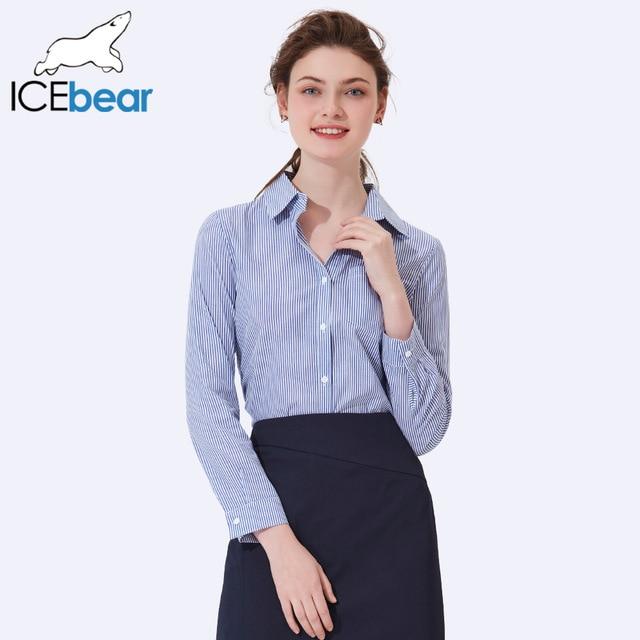 ICEbear 2017 Spring Fashion Women Long Sleeve Shirt Stripes Turn Down Collar Casual Summer Single-Breasted Lady Shirt 2001D