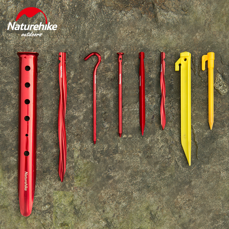 Naturehike Outdoor Camping Tent Nail Pegs Aluminum Alloy ABS Hiking Screw Tent Stake For Sand Snow Grassland Outdoor Tools