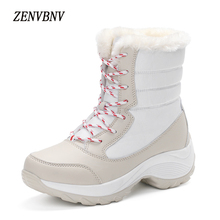 ZENVBNV Hot Sale Casual Shoes Women Boots Solid Slip-On Soft Women Snow Boots Round Toe Flat with Winter Fur Ankle Boots
