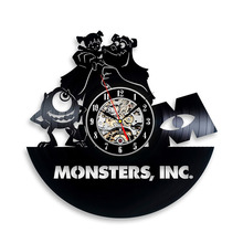 Monsters, Inc.Vinyl Record Wall Clock – Decorate your home with Modern Art – Gift for kids, girls and boys LED with 7colors