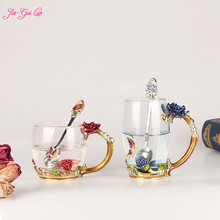 JIA-GUI LUO Crystal Glass Heat-resistant Enamel Creative Coffee Cup Couple Gift Rose Style Unique Birthday G007