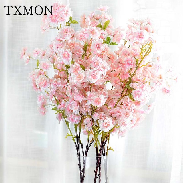 100cm Spring Silk Cherry Blossom Artificial Flower Bouquet DIY Fake Flowers For Home Decoration Wedding Hotel Garden Decor