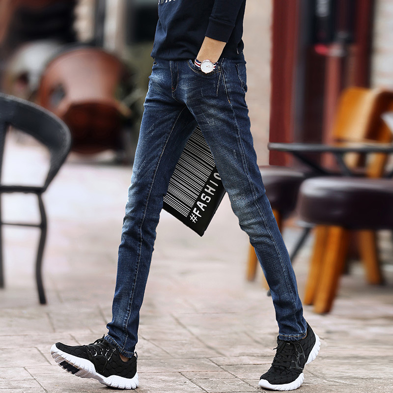 Top quality 2018 Fashion straight stretch young men bound feet long pencil pants jeans teenagers blue denim vaqueros hombre