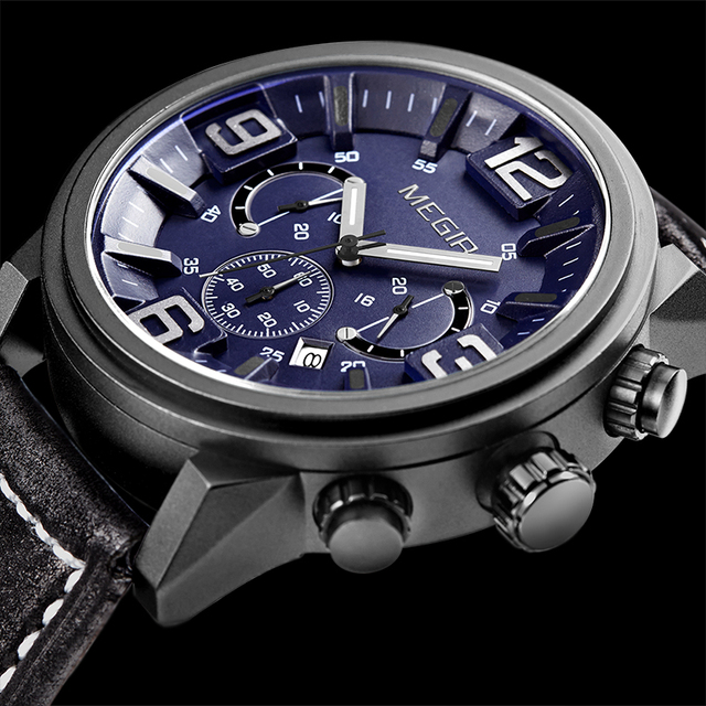 aliexpress com buy megir chronograph men watches 2016 luxury megir chronograph men watches 2016 luxury brand famous clock male sports quartz watch leather military