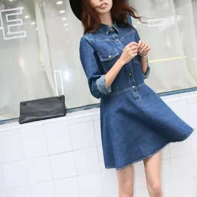 cc7058c53e Top Design Women Denim Dress Long Sleeve Lapel Jeans Dress Casual Slim  Cowboy Dress Spring Ball Gown Party Dress AD222