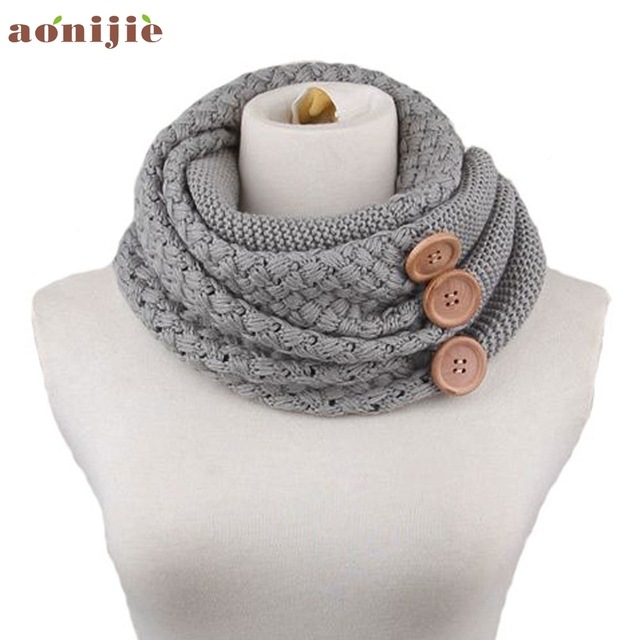 5 Colors Men Women Winter Warm Two Circle Cable Knit Cowl Neck Scarf ...