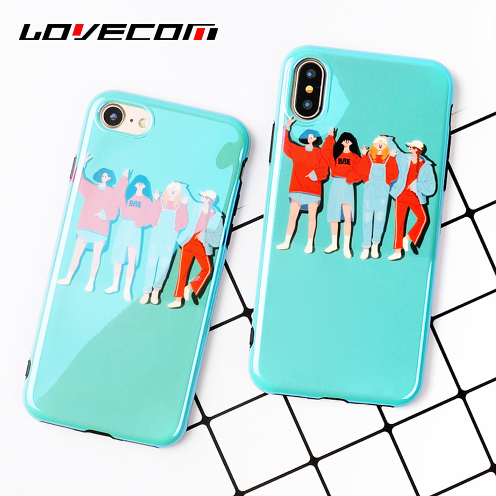 LOVECOM Glossy Blue Ray Phone Case For iphone X 8 7 6 6s Plus Student Era Hip Hop Style Blu-ray IMD Soft Shell Cover Bags Coque