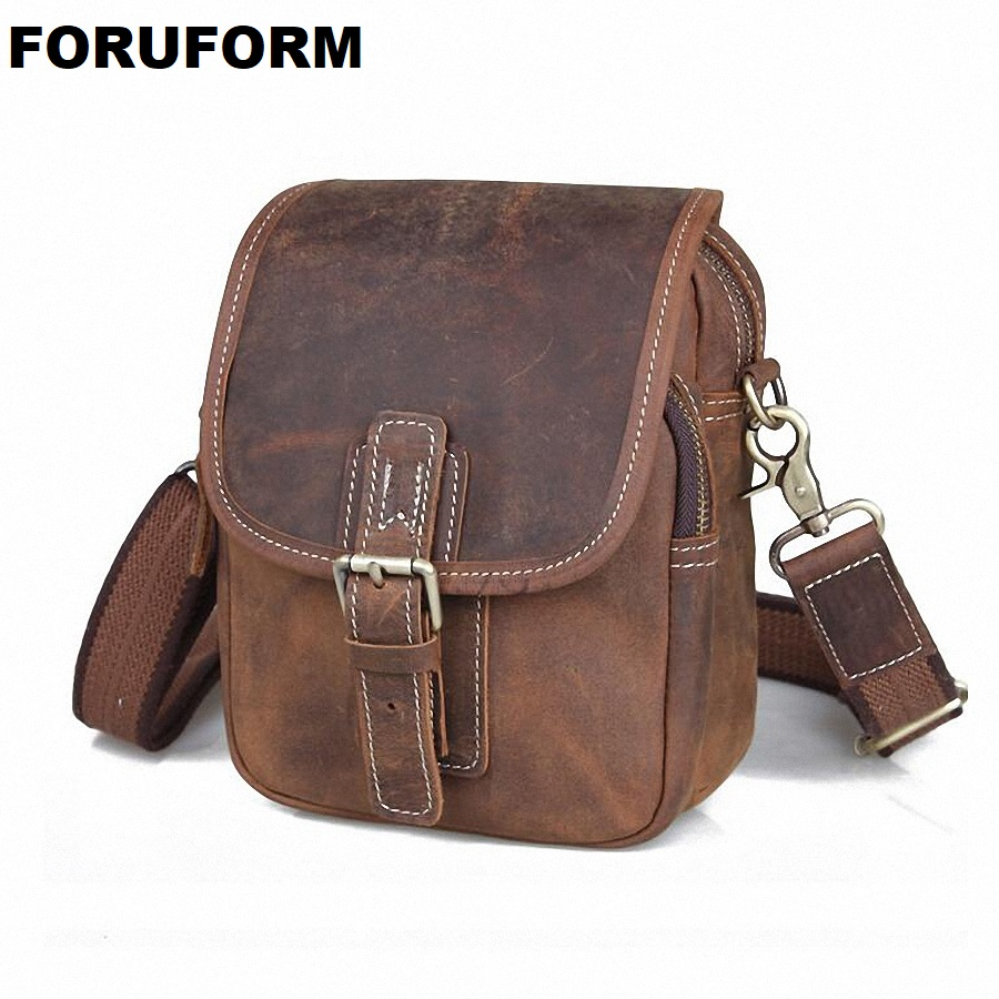 100% Crazy Horse Genuine Leather Men Bags Hot Sale Small Shoulder Bag Men Messenger Bag Crossbody Leisure Bag LI-784
