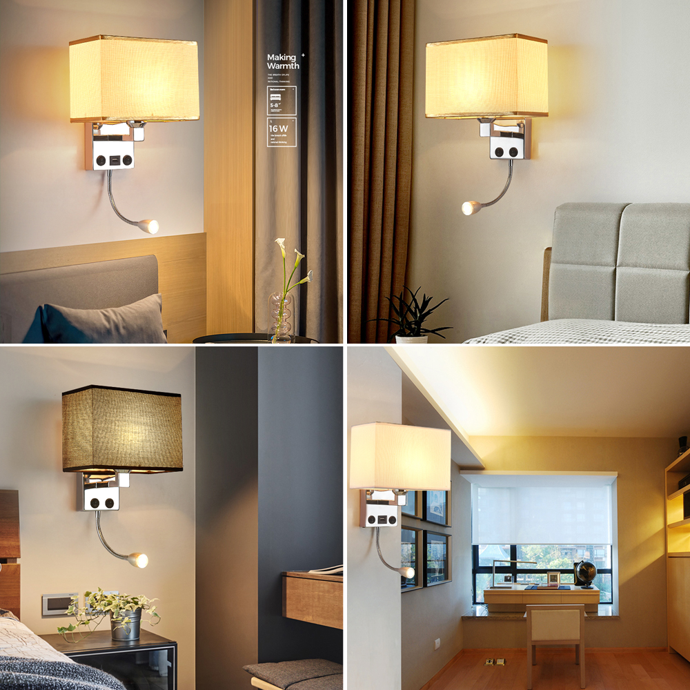 Led Wall Lights Sconce In The Bedroom Interior Sconces With Switch E27 Bulb Usb Mordern Black Indoor Bedside Lamp Headboard Lamps