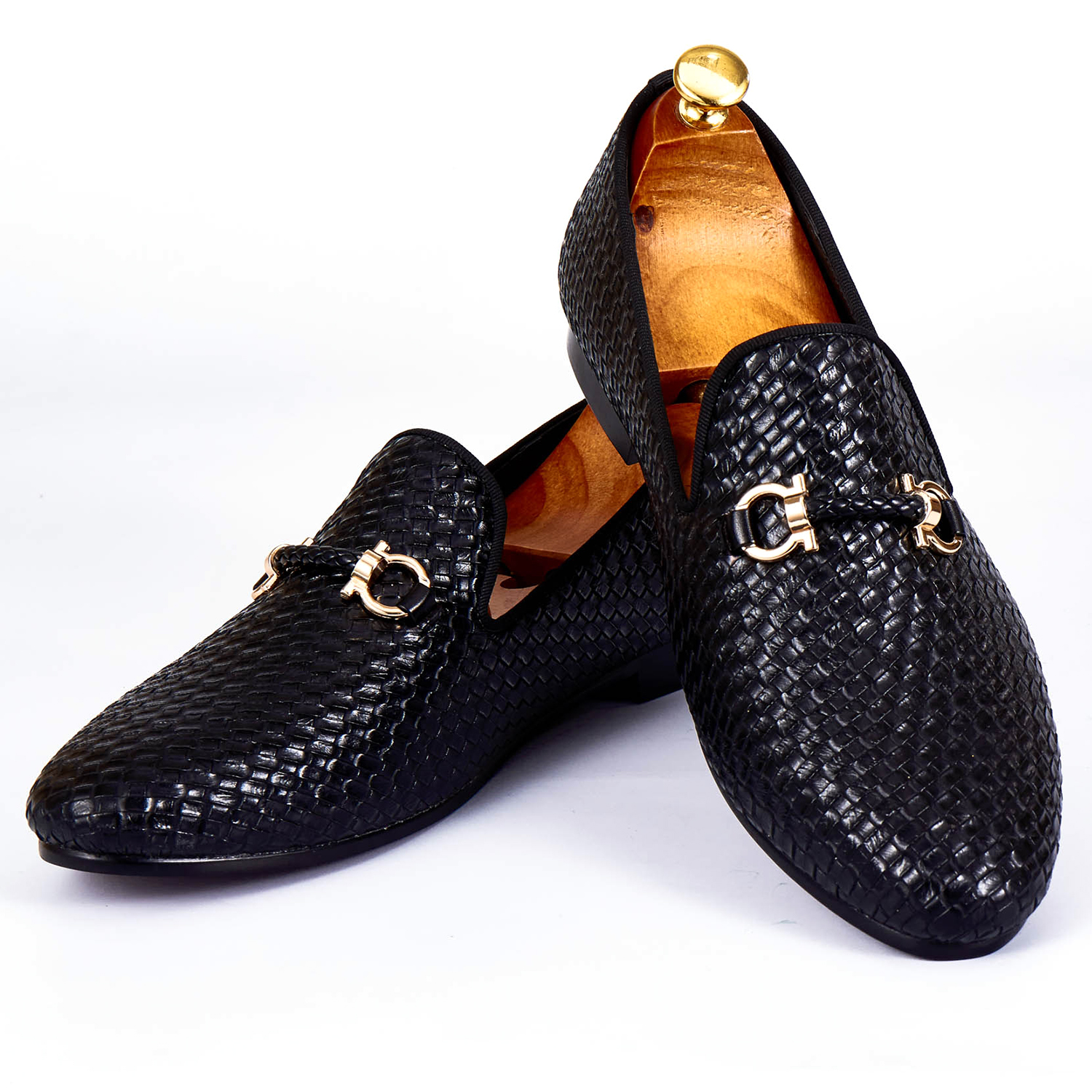 Harpelunde Men Dress Shoes Woven Leather Black Wedding Shoes Buckle Strap Flats Size 7-1 ...