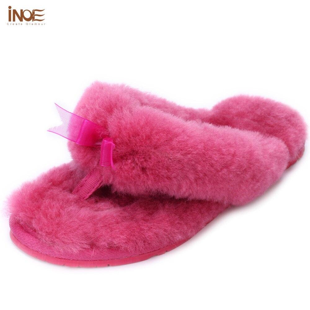 Qualité Femmes Mode De Blue light Intérieur Pantoufles Pink Femme Doublé Naturel Loisirs Red Réel Mouton Fourrure peach Flops Haute Maison D'hiver Flip Chaussures qxxtFTYrw