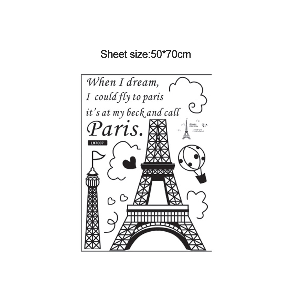 Romantic Wall Sticker Paris Eiffel Tower Decal Mural Vinyl Art DIY Home Decor