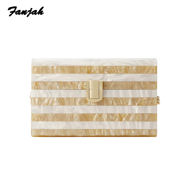 Striped Pearl Pillow Mini Mobile Phone Messenger Nice Women Bags Shoulder Acrylic Box Clutch Bags Women Lady Purse Acrylic Bags
