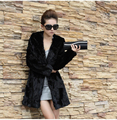 Hot sell 2015 new winter fashion faux fur coat Black slim warm luxurious long section fur jacket Hooded rabbit fur Overcoat
