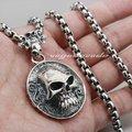 Huge & Heay Solid 925 Sterling Silver Skull Mens Biker Pendant 8C005(Necklace 24inch)