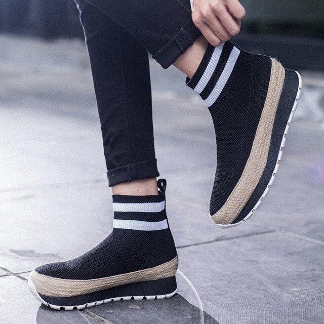 744eddb4 Chic mujeres tobillo calcetín zapatos Muffin plataforma plana tejido  elástico negro ocasional hecho punto lana G110