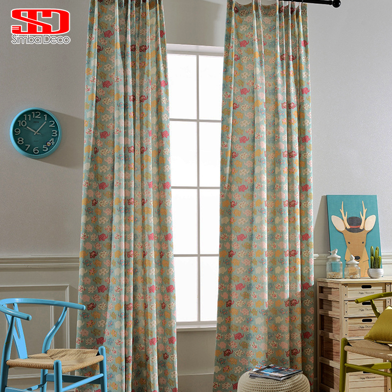 Cotton blackout curtains for kids room fabric elephant for Fabrics for children s rooms