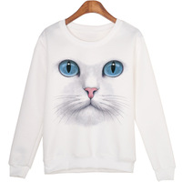EBay Explosion Models Simple Fashion Trend 3D Cool Cat Face All Match HOODIE Sweatshirt And Pattern
