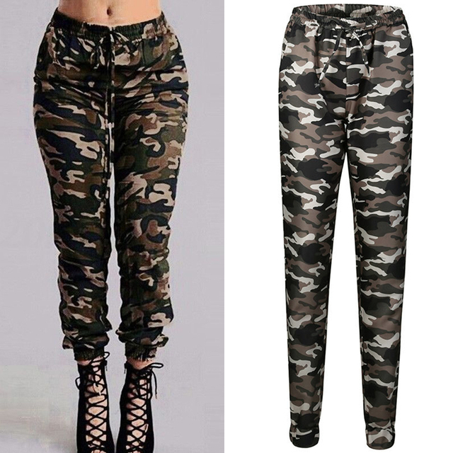 570b1f53b6b 4XL Plus Size Camo Pants Sweatpant Women Camouflage Joggers Long Harem Pants  Casual Female Military Stretch Waist Loose Trousers