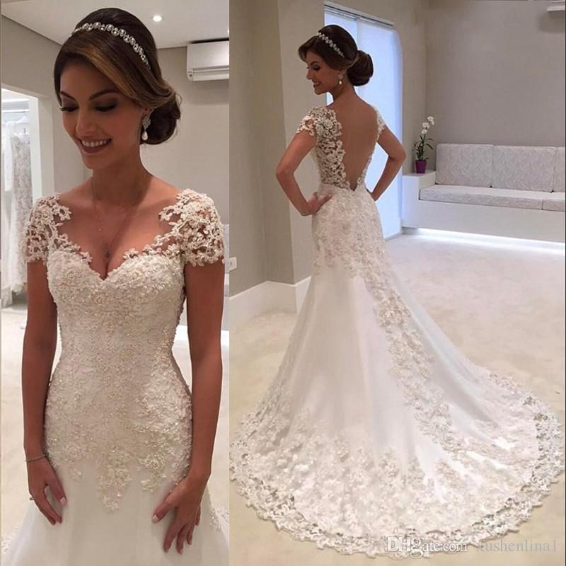 New Fashion Long Wedding Dress 2019 V-neck Short Sleeves A-Line Court Train Bride Dress Wedding Gowns Vestido de noiva longo