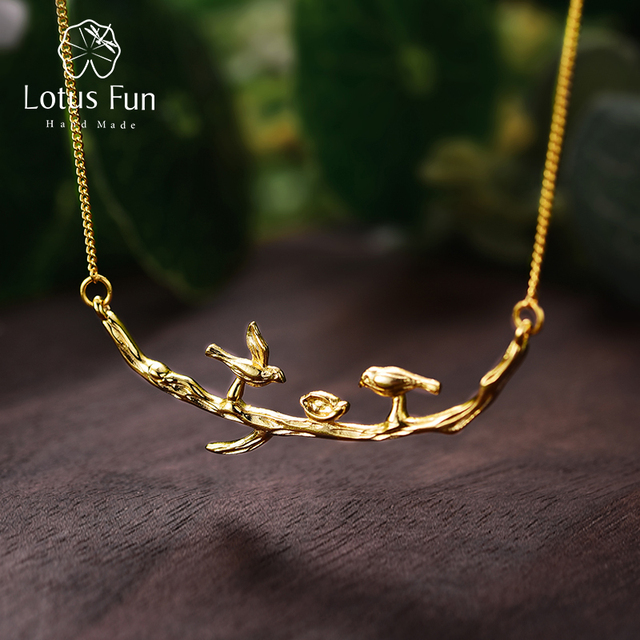 Lotus Fun Real 925 Sterling Silver Handmade Designer Fine Jewelry Cute Bird on Branches Necklace with Pendant for Women Collier