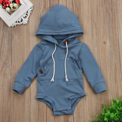 Baby Boy Sky Blue Hoodie Romper