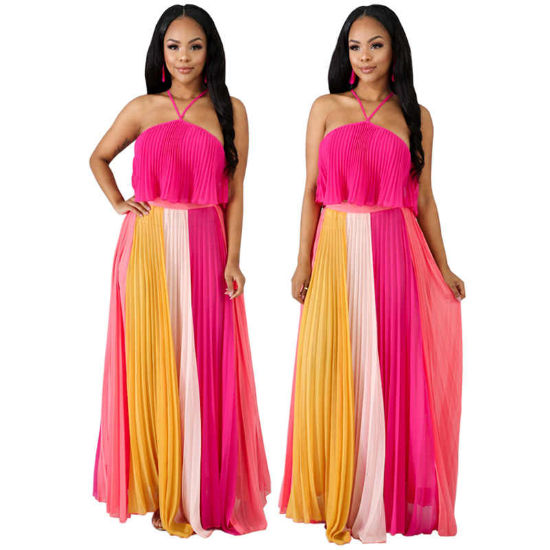 2019 new women halter neck sleeveless colorful patchwork pleated floor length maxi dress party sexy chiffon long dress CY8012
