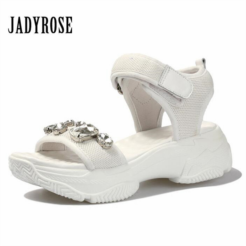 Jady Rose Rhinestone Summer Women Sandals Casual Beach Shoes Platform Creepers Wedge Shoes Woman Sandalias Mujer Sneakers instantarts women flats emoji face smile pattern summer air mesh beach flat shoes for youth girls mujer casual light sneakers