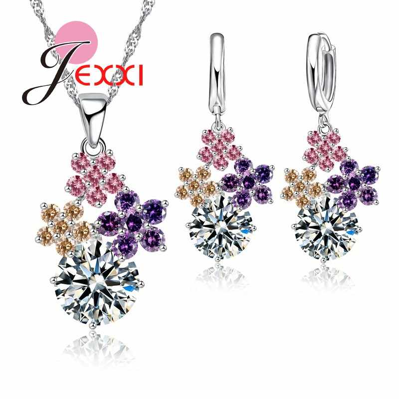 Fine Fashion 925 Sterling Silver Jewelry Set For Women Bridal Wedding Accessory Mixed Austrain Crystal Jewelry Set
