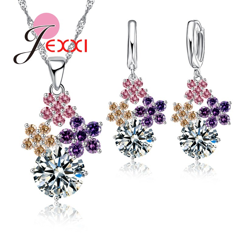 Fine Fashion 925 Sterling Silver Jewelry Set For Women Bridal Wedding Accessory Mixed Austrain Crystal Jewelry Set(China)