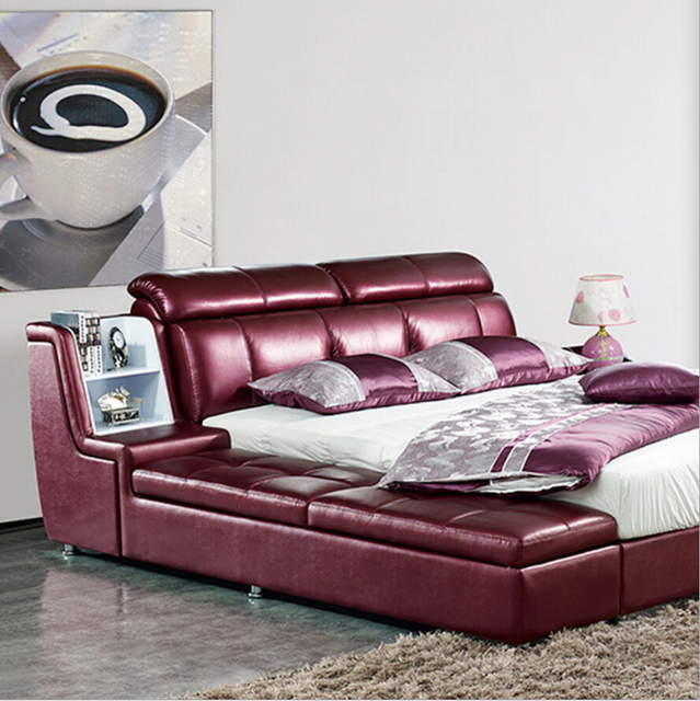 Webetop Modern Luxury Home Furniture Bed Set With Bedside Cabinet Leather  Bed New Soft Leather Bed