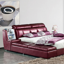 Webetop Modern Luxury Home Furniture Bed Set with Bedside Cabinet Leather Bed New Soft Leather Bed Home Furniture