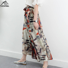 Boho Dress Pants Women Chiffon Wide Leg Pants Print Flower Loose Linen Dress Skirt Trousers Female Casual Capris Culottes Trend
