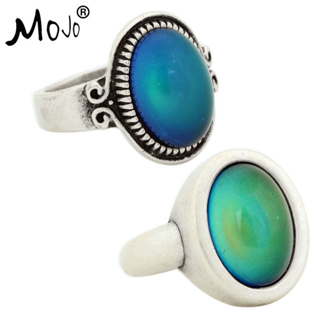 2pcs Vintage Ring Set Of Rings On Fingers Mood That Changes Color Wedding