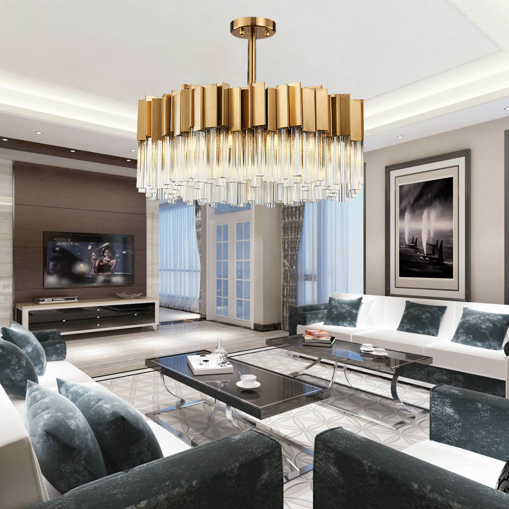 Gold Modern Crystal Chandelier Luxury Lighting Fixture Round LED Lustres De Cristal 1