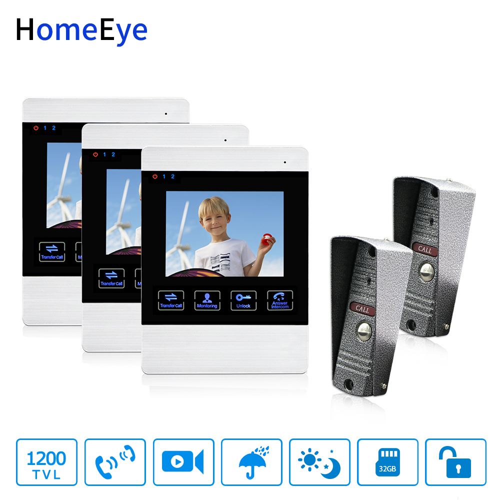 HomeEye 4-Wired 2-3 Access System Video Door Phone Video Intercom Touch Button Doorbell Camera 4'' Monitor Video Record OSD Menu