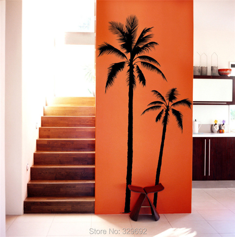 Palm Tree COCONUT PALMIER BEACH SURF Wall Art Sticker Decal Home DIY  Decoration Wall Mural Removable