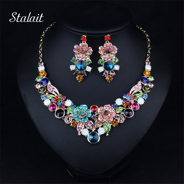 Luxury Big Colorful Flower Crystal Rhinestone Statement Collar Necklace Earring Jewelry Sets Good Women Bridal Dress Accessories