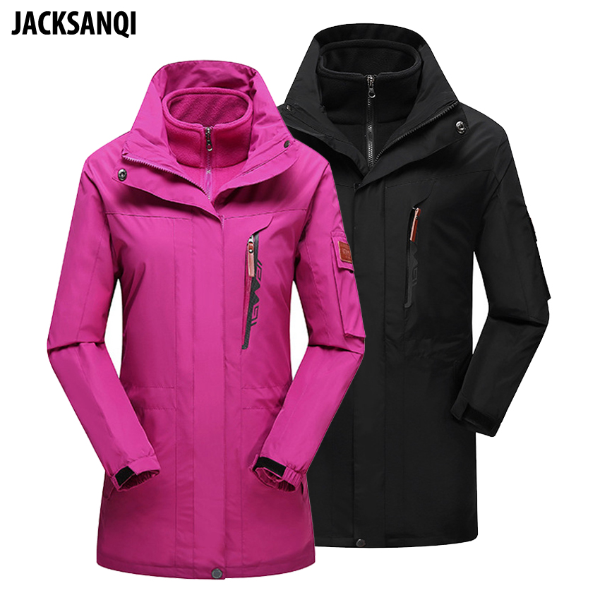 JACKSANQI Men Women Winter 2 Pieces Fleece Softshell Outdoor Jackets WindProof Hiking Camping Trekking Thermal Male