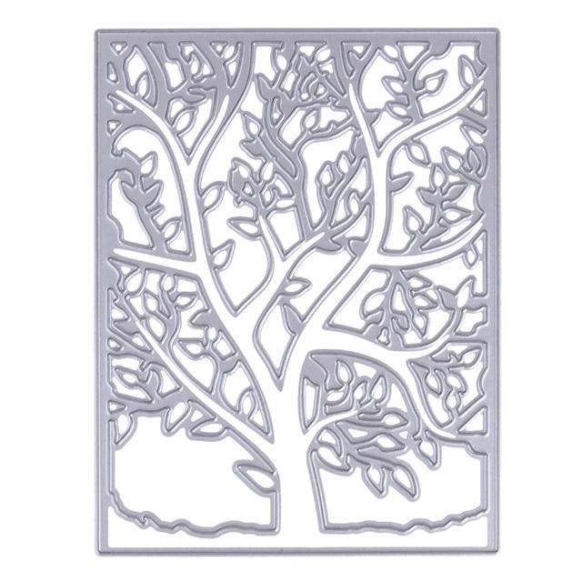 Primavera árbol plantilla Marcos rectángulo metal Recortes de papel ...