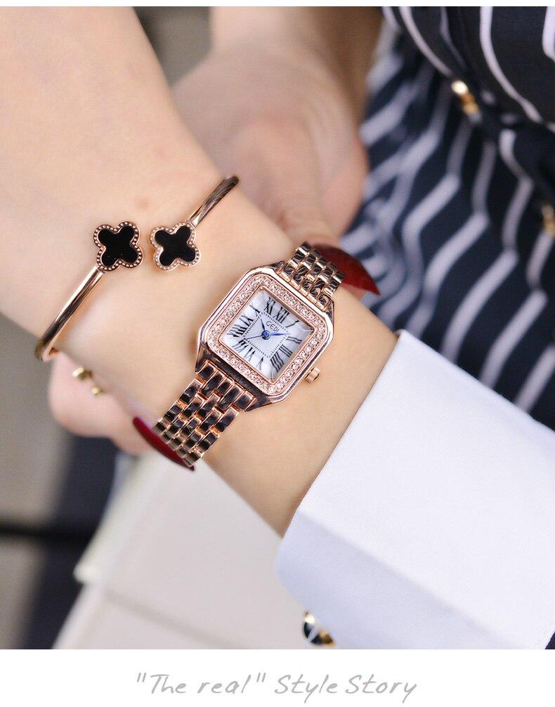 luxo aço inoxidável pulseira relógios senhoras vestido quartzo marca reloj mujer