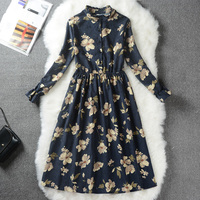 Autumn Winter Women Dress Floral Print Vintage Dress Slim Stand Collar Single Breasted Pleated Dress Slim