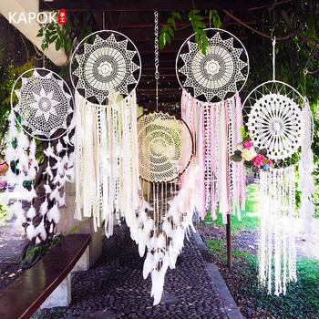 Dream Net wisiorek z piórkiem nadmuchiwany dzwonek wisiorek tkactwo Dream Net dekoracja ślubna kreatywna ręcznie tkana biżuteria wisząca kuranty wiatrowe tanie i dobre opinie sunchamo CN (pochodzenie) Wikliny Duszpasterska