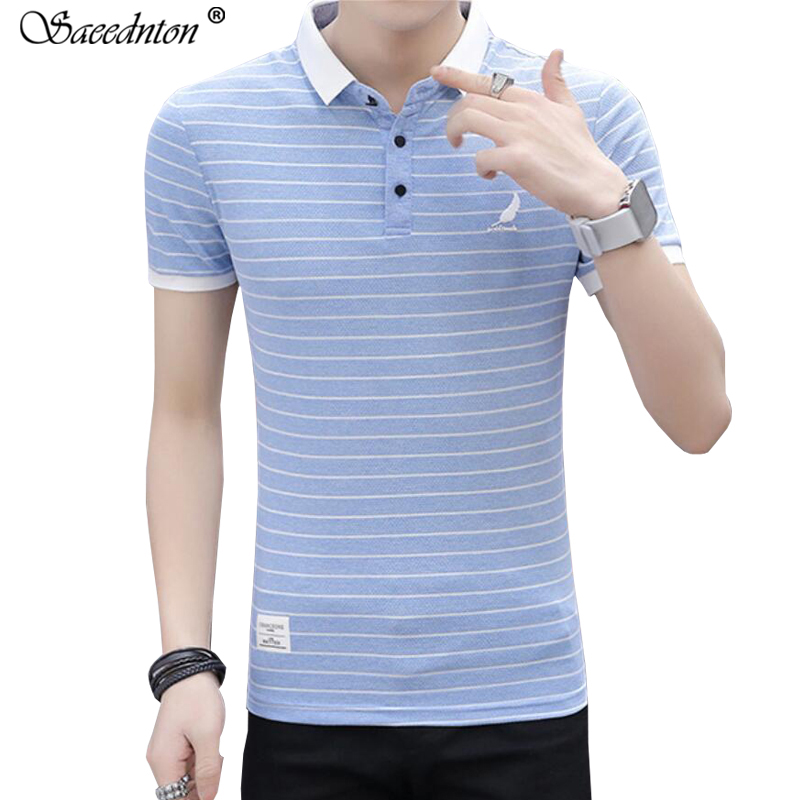 Polo Shirt Men 2019 Summer Male Fashion Turn down Collar 95 Cotton Short Sleeve Business Casual Striped Polos Shirts Homme Tees in Polo from Men 39 s Clothing