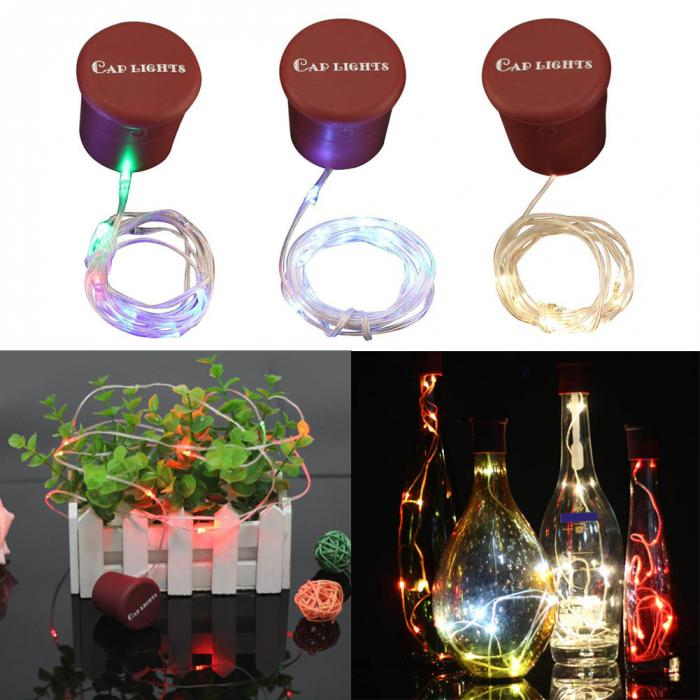 LumiParty Christmas 1m 10LEDs String Lights Silicone Bottle Cap Light Wine Cork Lamp Val ...