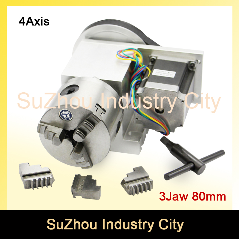 3 Jaw 80mm chuck CNC 4th Axis CNC dividing head/Rotation 6:1 A axis  for Mini CNC router/engraver woodworking engraving machine cnc 5 axis a aixs rotary axis three jaw chuck type for cnc router