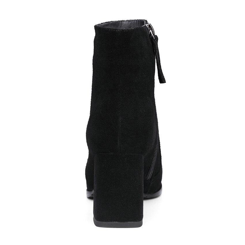 Moto Grande Bout Pointu Solide Bottes Noir 2019 Hiver 39 gris Taille Match Hauts Plate Cheville Qutaa forme Tout 34 Carré À Chaussures Femmes Talons 8TqfU