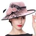 Джун молодых женщин шляпы цветочный узор перо широкими полями розовый цвет элегантная дама ну вечеринку мода девушка летнее солнце Fedoras